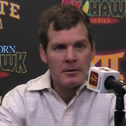Tom Brands meets with the media following CyHawk win